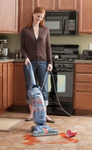 Hoover FloorMate Cleans in Kitchen